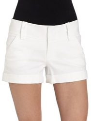 Alice Olivia Cuffed Mini Shorts White