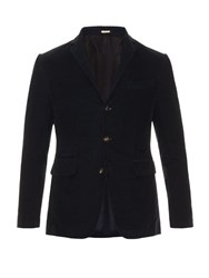 Massimo Alba Three Button Cotton Corduroy Blazer Navy