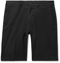 Canali Cotton Blend Twill Shorts Black