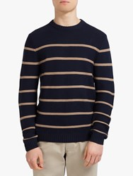 Eden Park Linen Cotton Horizontal Stripe Jumper Navy Yellow