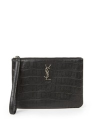 Saint Laurent Monogram Crocodile Embossed Leather Zip Pouch Black