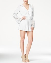 Guess Long Sleeve Cinched Waist Romper True White