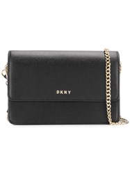 Dkny Chain Strap Bag Leather Metal Black