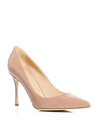 Sergio Rossi Godiva Patent Pointed Toe High Heel Pumps Nude