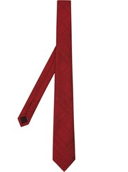 Burberry Classic Cut Check Silk Jacquard Tie Red