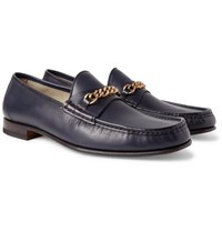 Tom Ford York Chain Trimmed Leather Loafers Navy