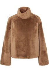 Yves Salomon Shearling Turtleneck Sweater Camel