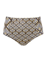Biba Deco Foil High Waist Bikini Brief Monochrome