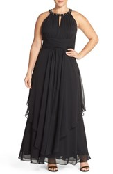 Plus Size Women's Eliza J Embellished Keyhole Neck Chiffon Dress Black