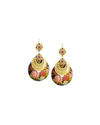 Jose And Maria Barrera Floral Decoupage Drop Earrings Multi