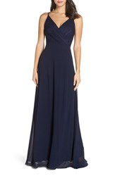 Heartloom Haley Lace And Chiffon Gown Indigo