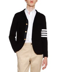 Thom Browne 4 Bar Striped Knit Sport Coat Navy