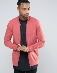Asos Muscle Fit Jersey Bomber Jacket In Pink Henna