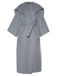 The Row Lanja Belted Double Faced Coat Light Grey