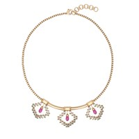 O. Yang Fuschia Crystal Diamonds Necklace Pink Purple