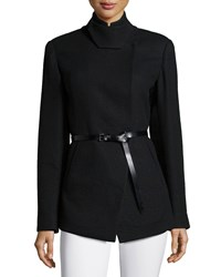 Donna Karan Tailored Pea Jacket W Belt Black