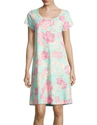 Miss Elaine Floral Print Pullover Night Gown Pink Floral