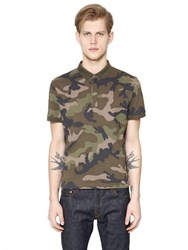 Valentino Camouflage Printed Cotton Pique Polo