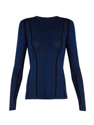 Diane Von Furstenberg Striped Ribbed Knit Sweater Blue