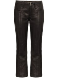 Saint Laurent Kick Flare Leather Trousers Black