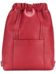 Maison Martin Margiela Bucket Backpack Leather Polyester Red