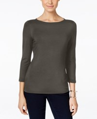 Inc International Concepts Three Quarter Sleeve Boat Neck Top Only At Macy's Grey Knight