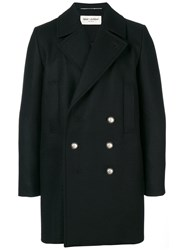 Saint Laurent Double Breasted Coat Silk Cotton Polyester Wool Black