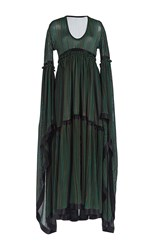Sonia Rykiel Fluid Stripes Long Sleeve Full Length Dress Black