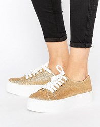 Sixty Seven Sixtyseven Flatform Glitter Laceup Trainer C18180 Gold