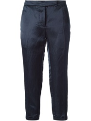 Thom Browne Cropped Slim Fit Trousers Blue