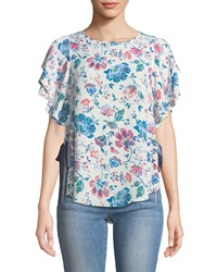 Laundry By Shelli Segal Floral Print Tie Side Blouse Pink