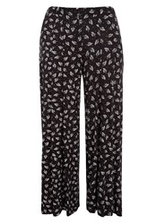 Evans Plus Size Leaf Print Wide Leg Trouser Black