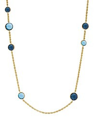 Lord And Taylor Swiss Blue Topaz London Blue Topaz 14K Yellow Gold Necklace