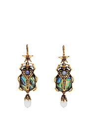 Alexander Mcqueen Abalon Scarab Shell And Faux Pearl Drop Earrings Blue