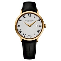 Raymond Weil 5488 Pc 00300 Men's Toccata Gold Plated Leather Strap Watch Black White