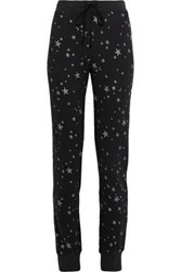 Joie Tendra B Printed French Cotton Terry Track Pants Black
