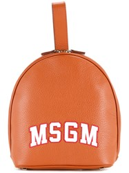 Msgm Logo Print Backpack Brown