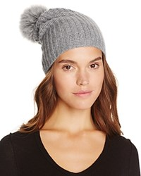 Magaschoni Fur Trim Hat Silver Mouline