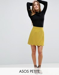 Asos Petite A Line Mini Skirt With Scallop Hem Chartreuse Green