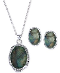 Jones New York Silver Tone Abalone Oval Pendant Necklace And Stud Earring Set Green