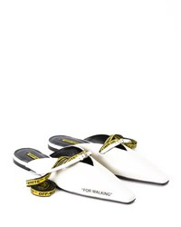 Off White For Walking Leather Mule Slide Flat White