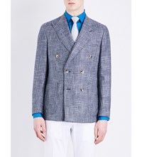 Richard James Check Pattern Wool And Linen Blend Jacket Mid Blue