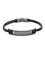Saks Fifth Avenue Leather And Stainless Steel Bracelet Black