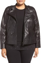 Bernardo Plus Size Women's Leather Moto Jacket