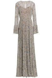 Mikael Aghal Woman Pleated Floral Print Georgette Gown Beige