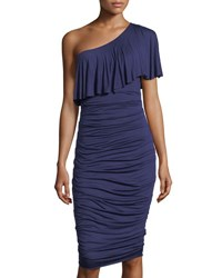 Bailey 44 Barbados One Shoulder Ruched Midi Dress Blue