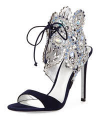 Crystal Ankle Tie Evening Sandal Navy Blue Rene Caovilla