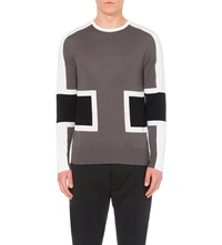 Neil Barrett Graphic Crew Neck Wool Jumper Black Grey