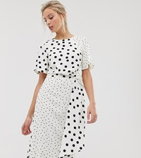 Oasis Midi Dress In Mixed Polka Dot Multi