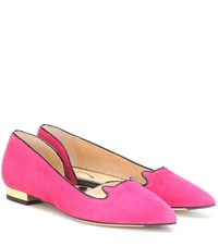 Charlotte Olympia Kitty Suede Ballet Flats Pink